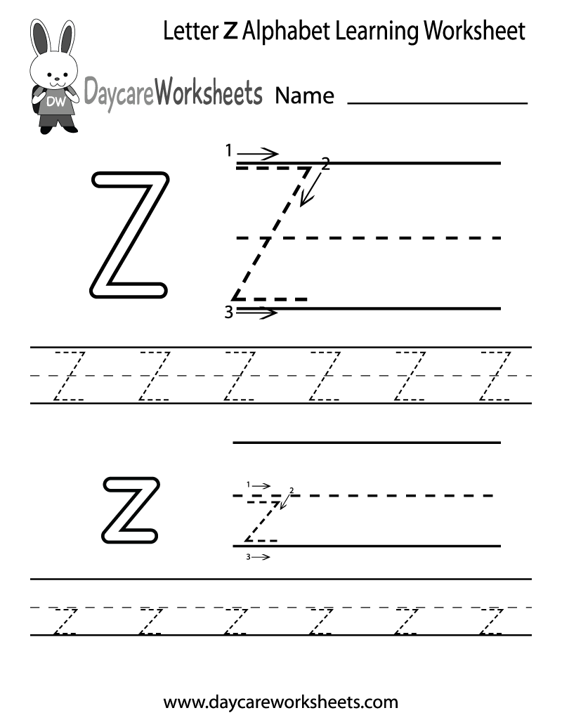 5 Images of Printable Preschool Worksheets Letter Z