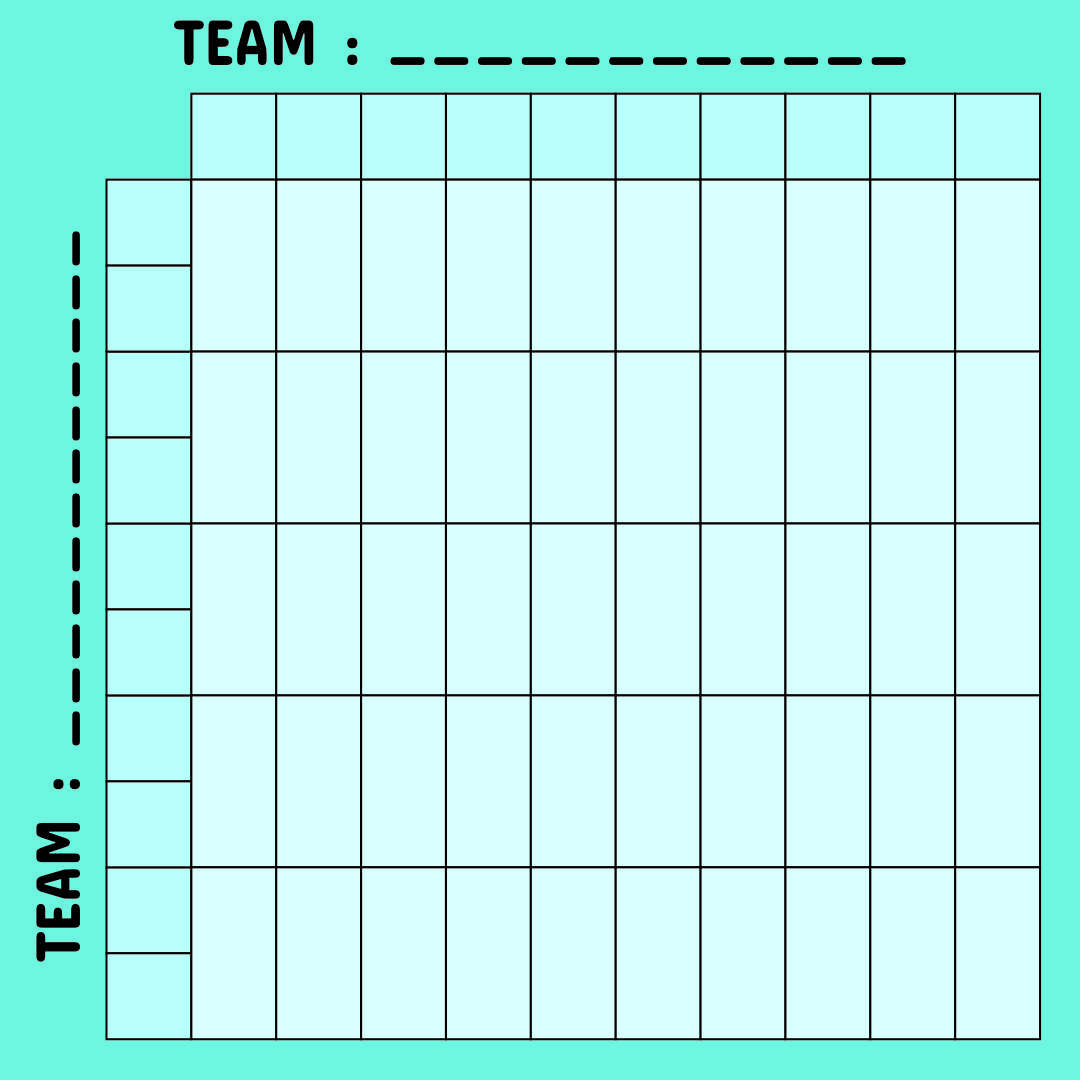 Printable 50 Square Football Pool Grid
