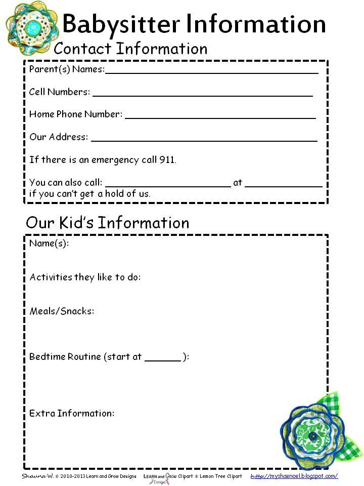 7 Best Images of Printable Babysitting Information Sheet ...