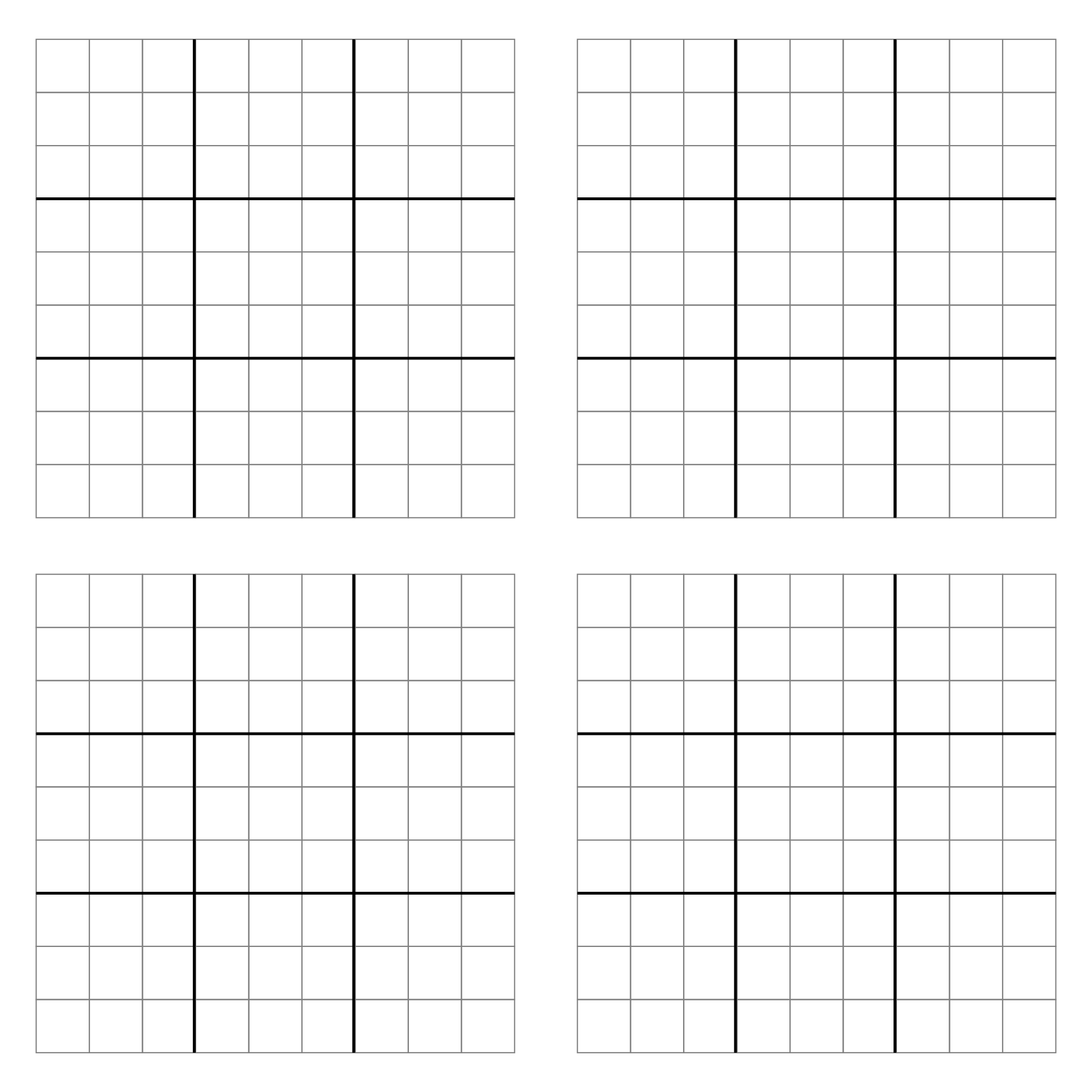 4 Images of Printable Blank Sudoku Grid 2 Per Page