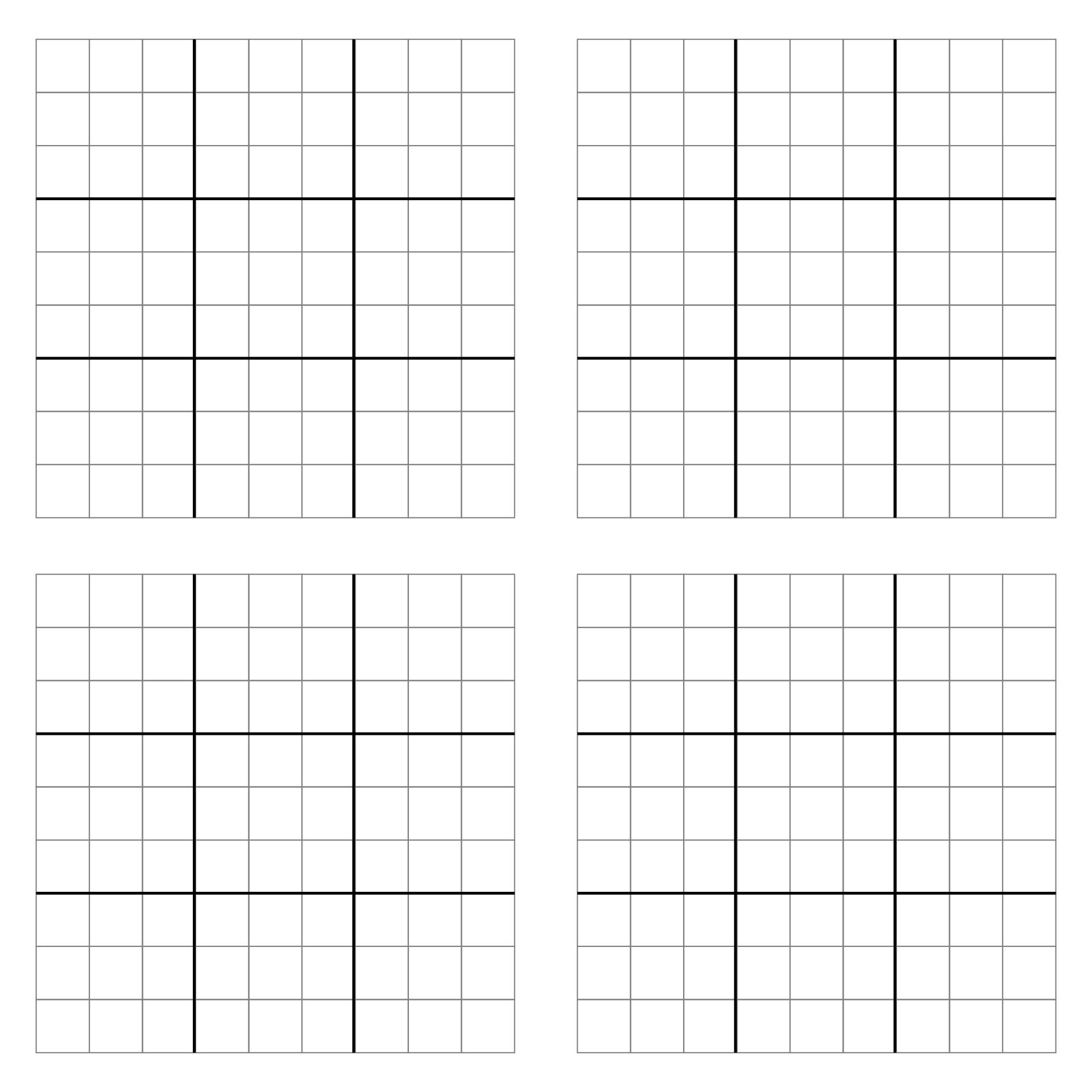 Printable Blank Sudoku Grids 4 per Page