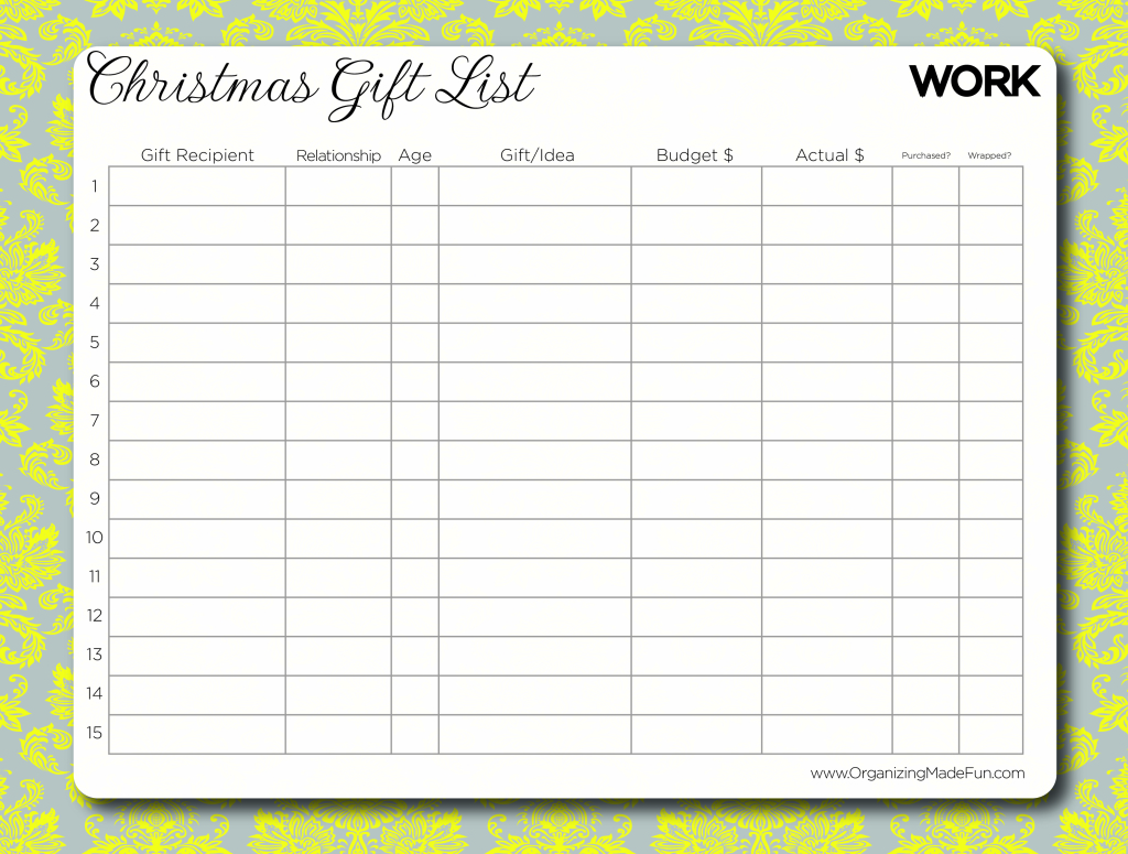 Blank Grocery List Template