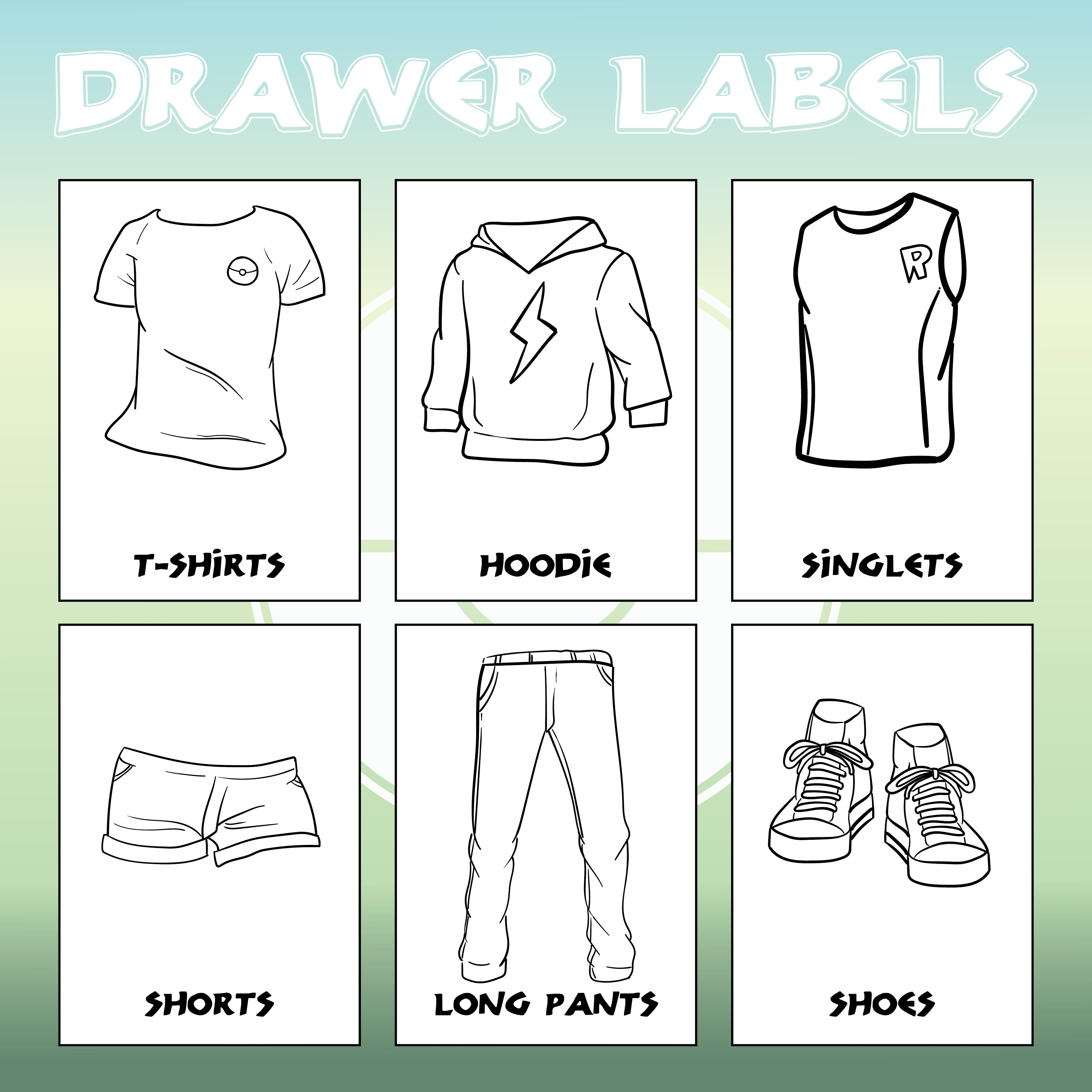 Printable Drawer Labels Kids Clothes