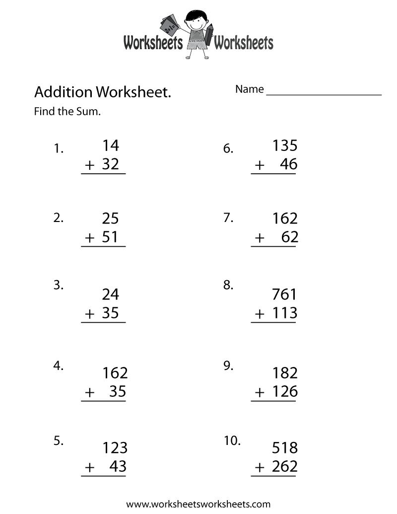 Math Worksheets Adding mathematics addition and subtraction – Printable Adding and Subtracting Worksheets