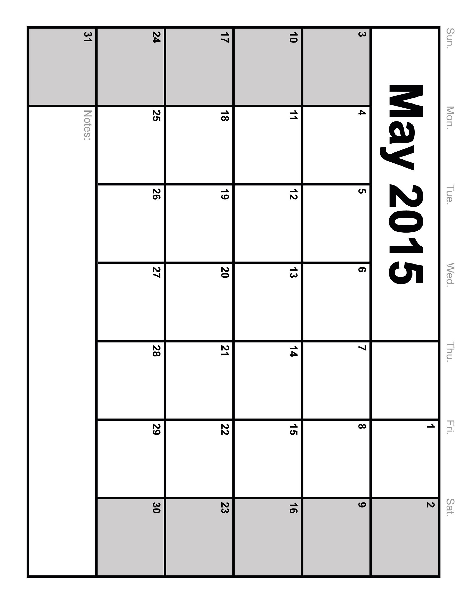 Printable Monthly Calendar May 2015