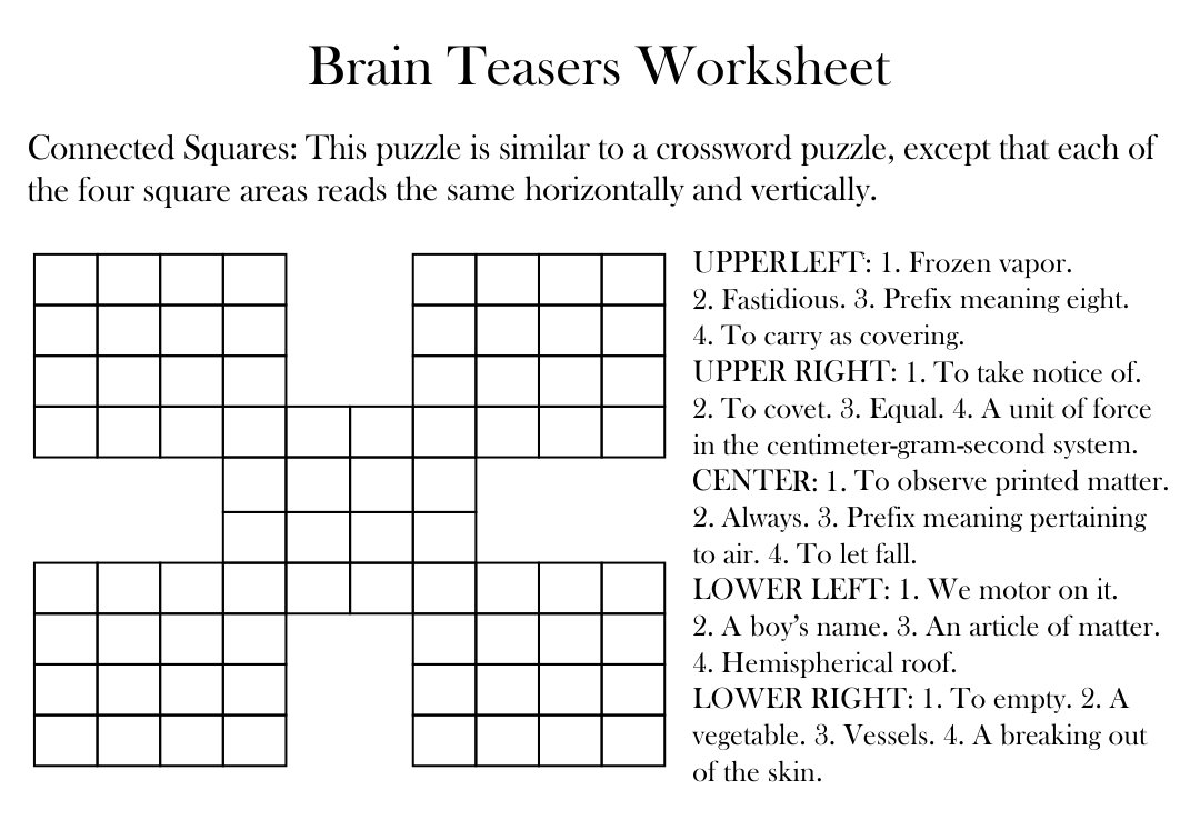 Number Names Worksheets brain puzzle worksheets Free Printable – Math Brain Teasers Worksheet