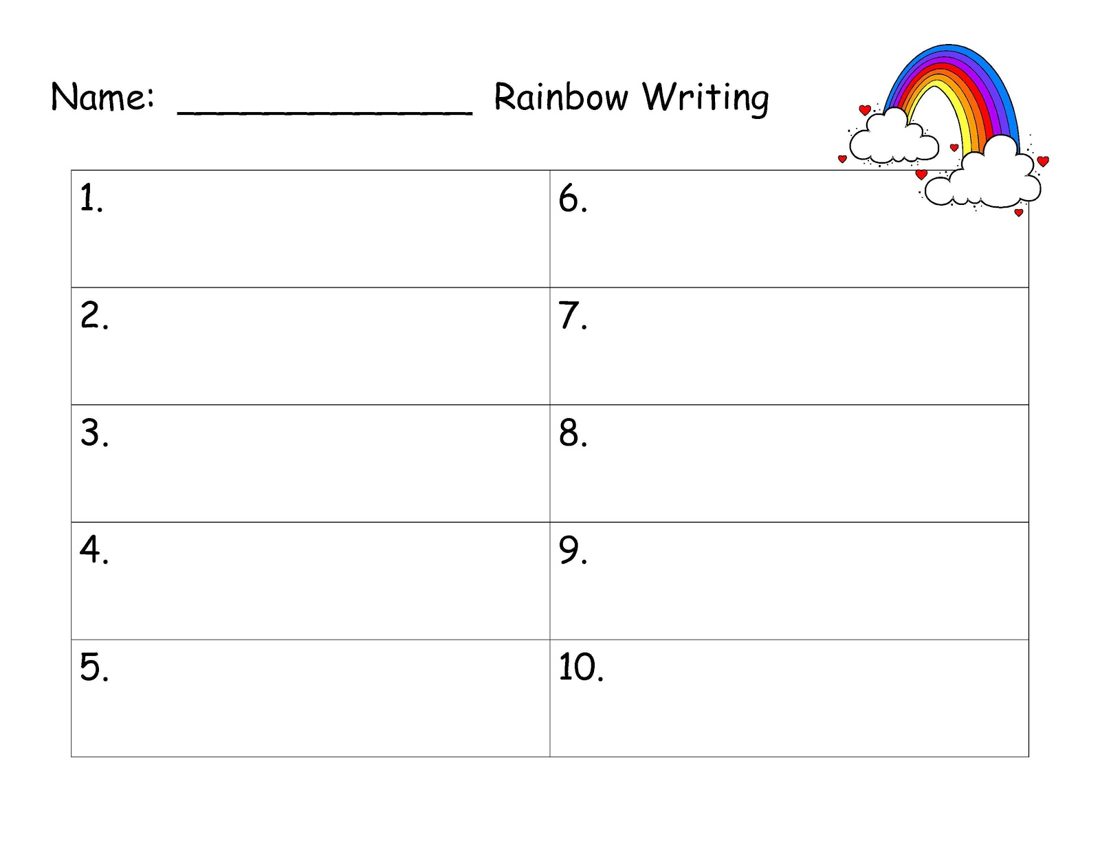 rainbow writing spelling words template 6 best images of printable spelling word paper spelling