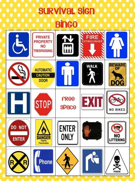 5 Best Images of Survival Sign Bingo Printable - Road Trip ...