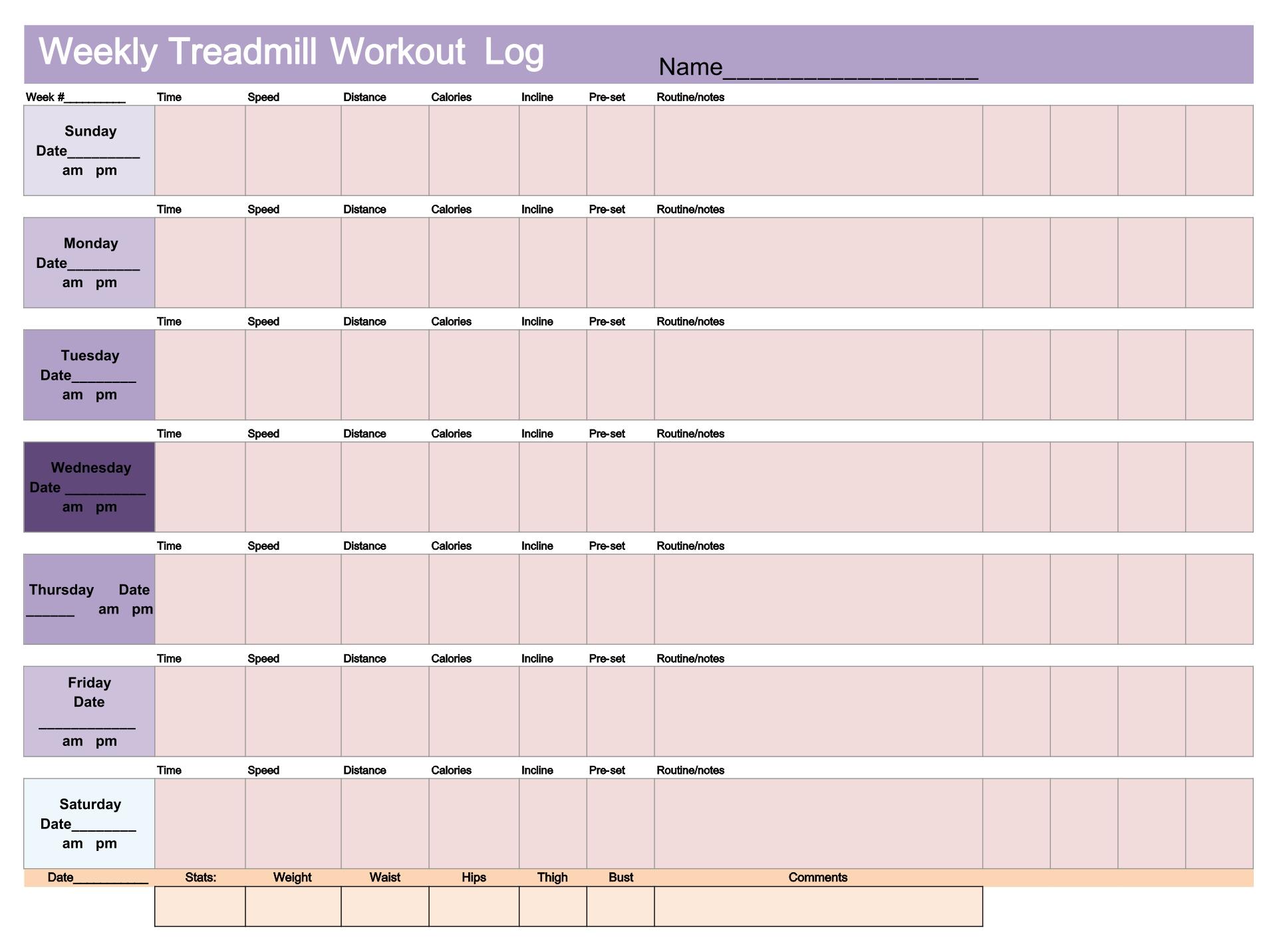 Treadmill Workout Charts Printable