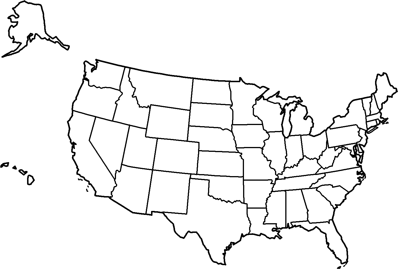 4 best images of united states map printable black and for Us map coloring page