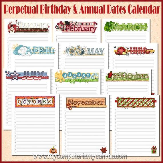 Yearly Birthday Calendar Template Printable