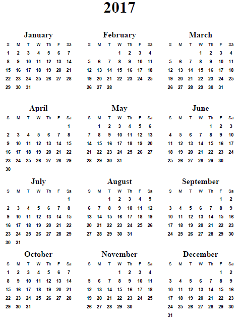 7 Images of Free Printable 2017 Yearly Calendar Template