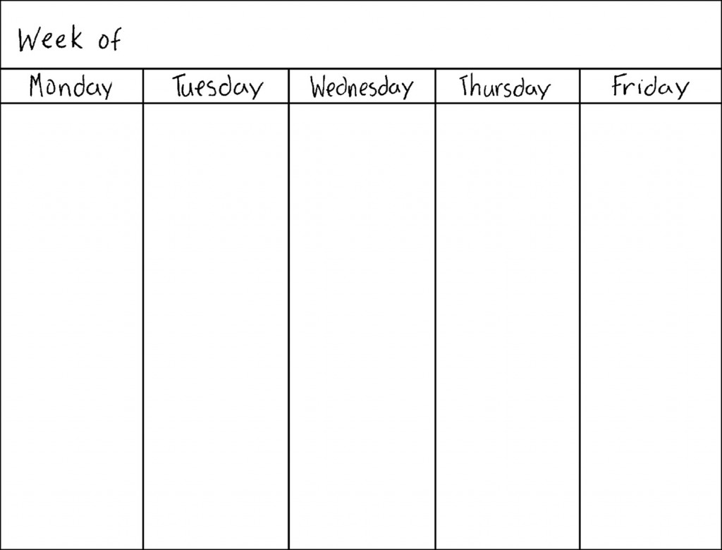 blank weekly work schedule template