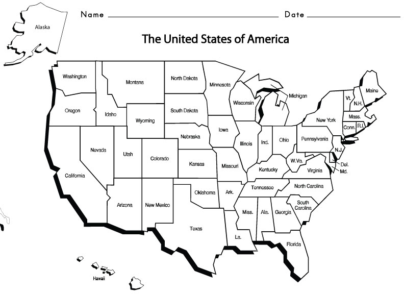 4 Best Images of United States Map Worksheets Printable - 50 ...