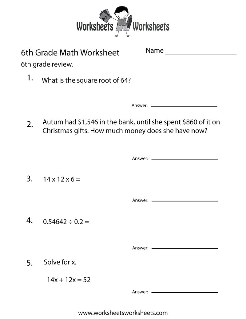 Worksheets For Math 6Th Grade Free Worksheets Library – Math 6th Grade Worksheets