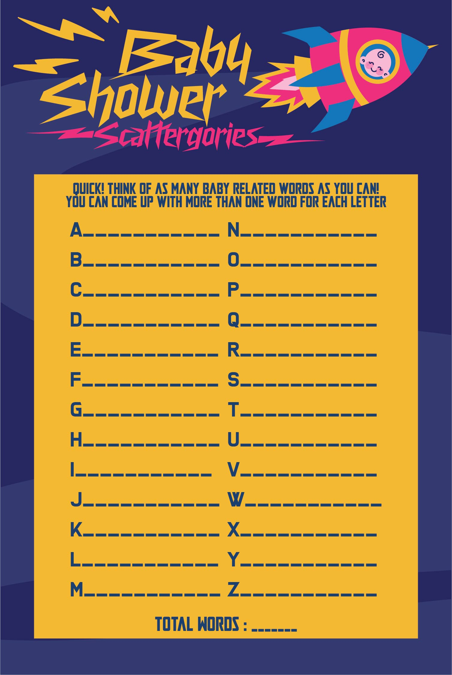 6 Images of Baby Shower Scattergories Printable Free