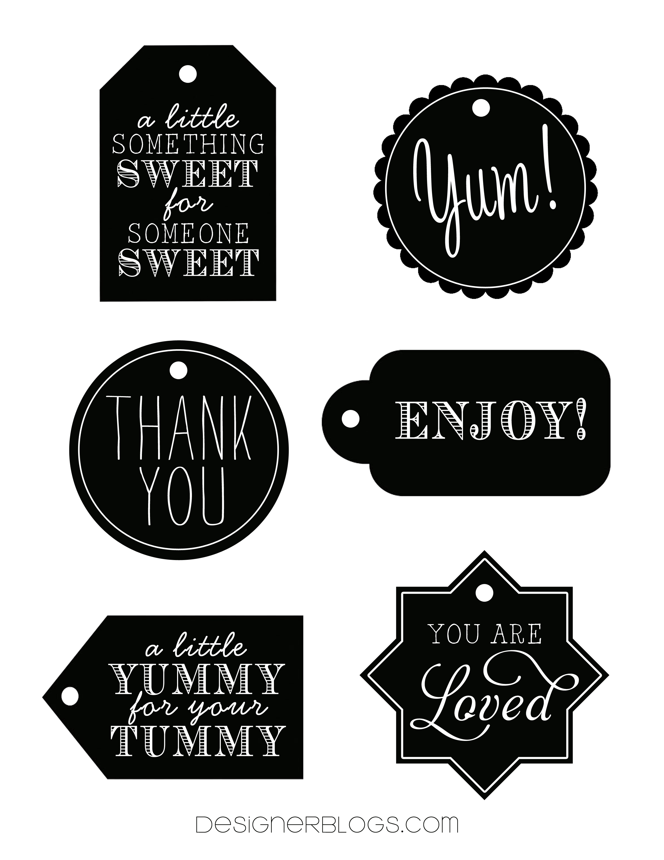 Black and White Printable Gift Tags