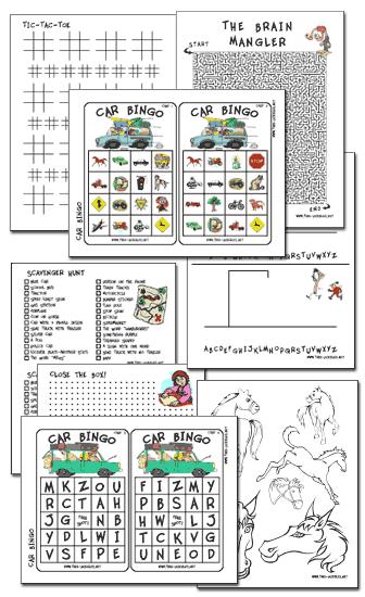 Car & Travel Games Printables