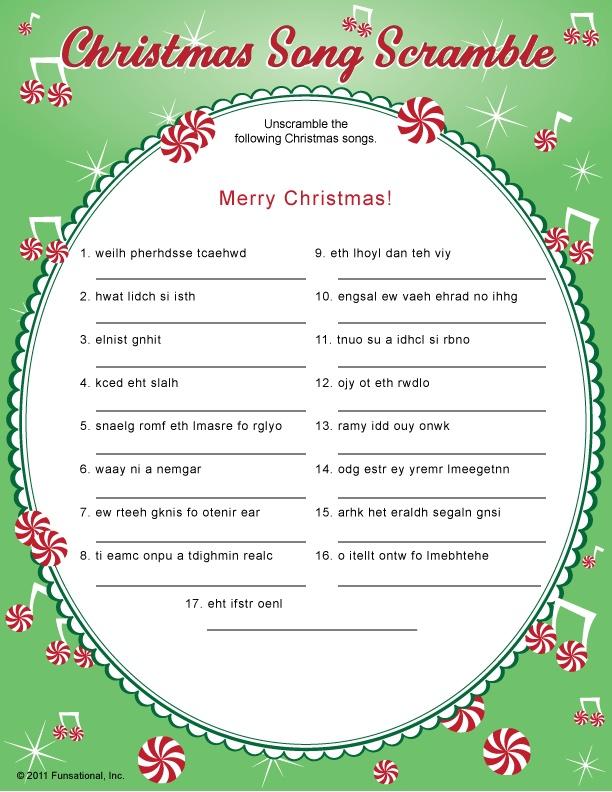 ... Free Printable Christmas Word Scramble Game and Free Printable