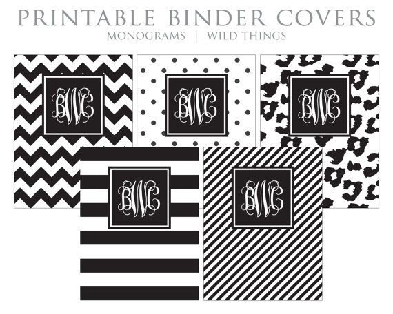 Cute Binder Covers Black and White