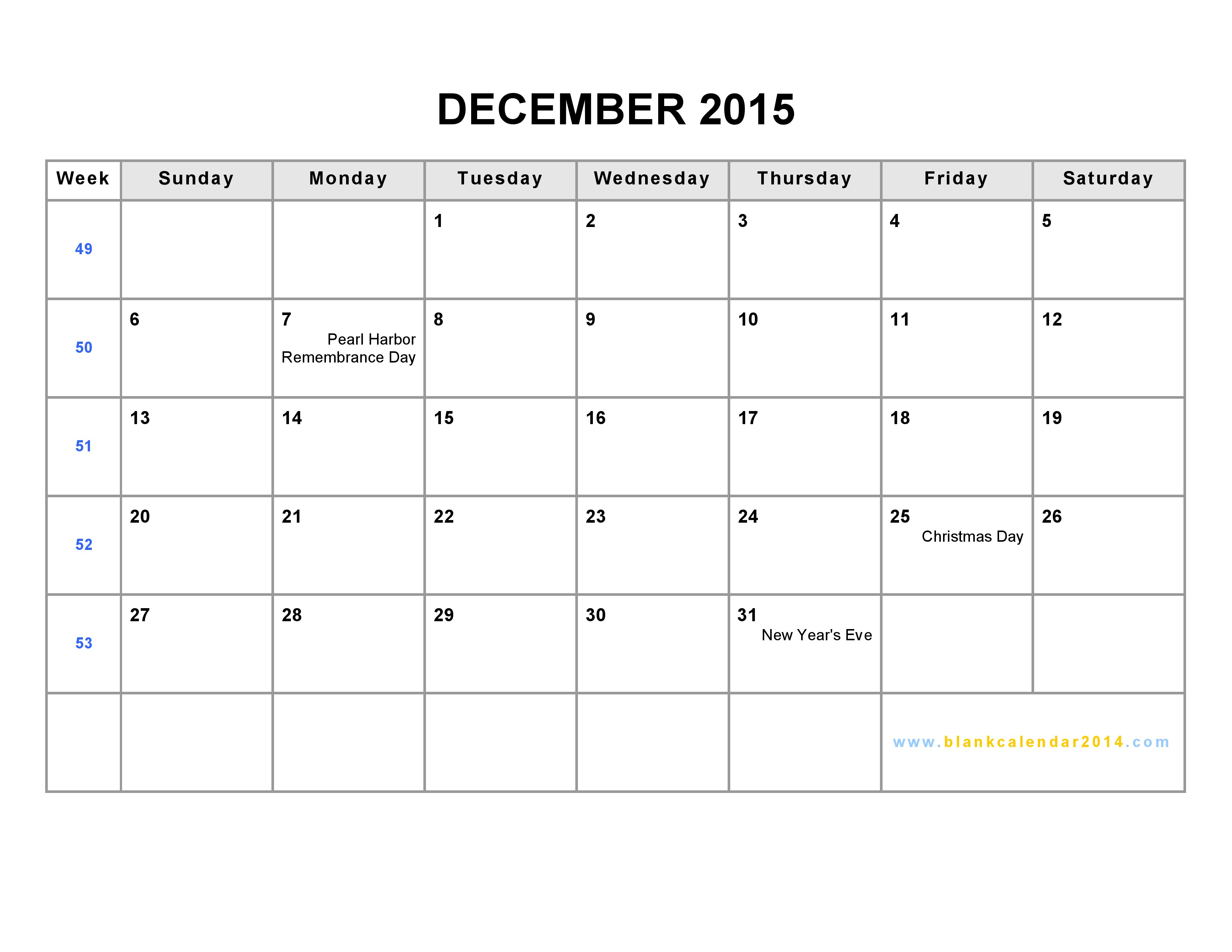 9 Best Images of December 2015 Printable Week At A Glance ...