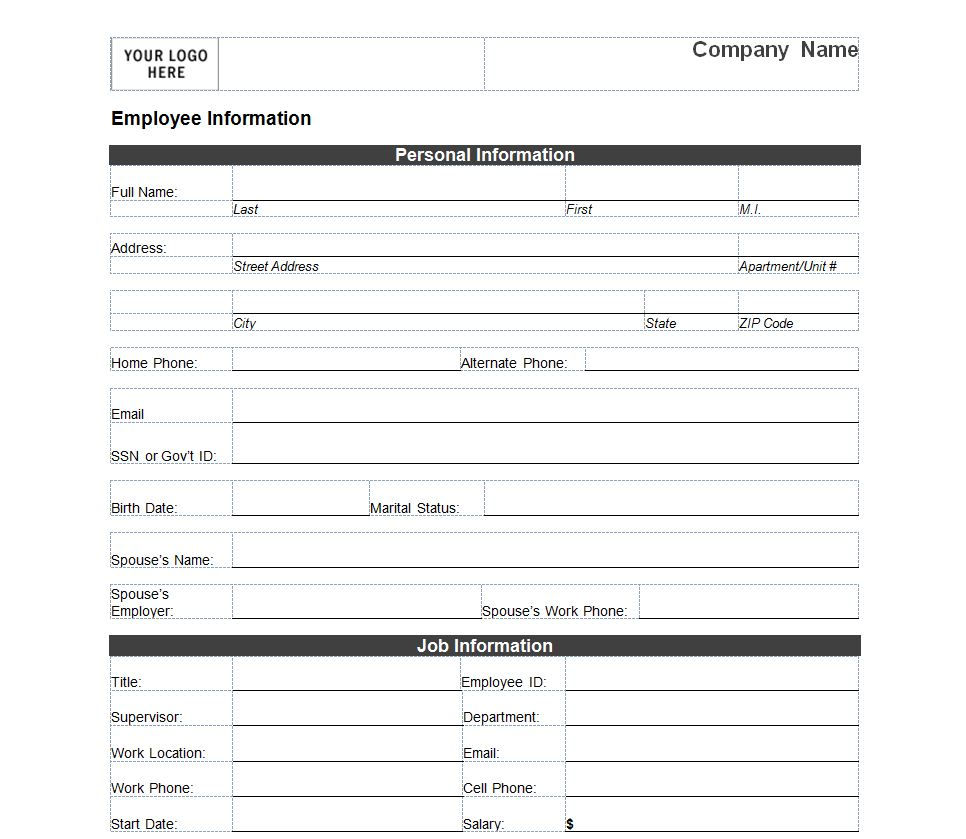 8 best images of printable employee information form new employee information form free. Black Bedroom Furniture Sets. Home Design Ideas