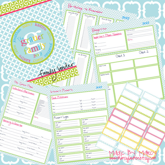 Family Binder Free Printables