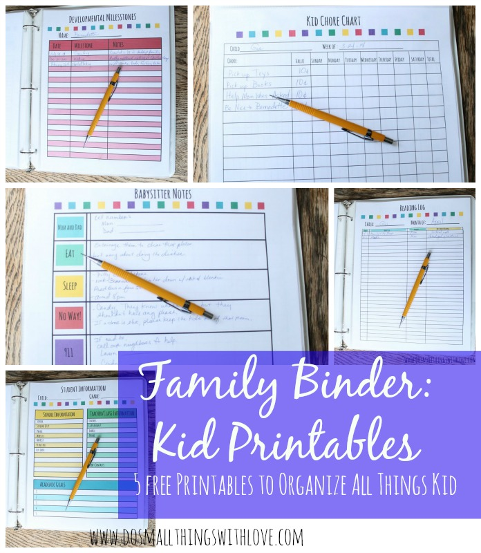 Family Organization Binder Free Printables