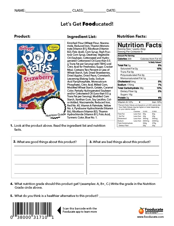 5 Best Images of Middle School Printables - Food Nutrition Labels Worksheet, Champs Classroom ...