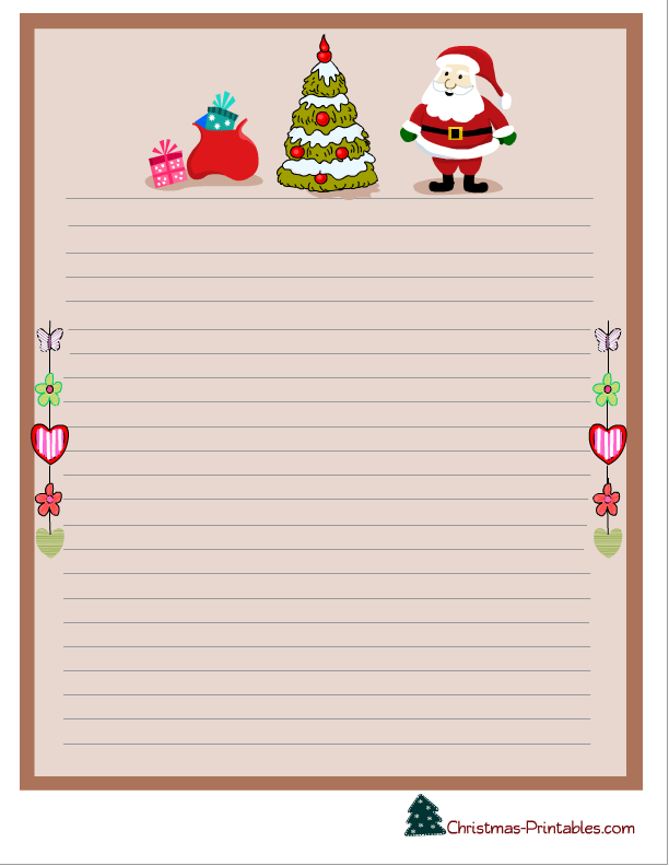 5 Images of Printable Christmas Stationery To Color