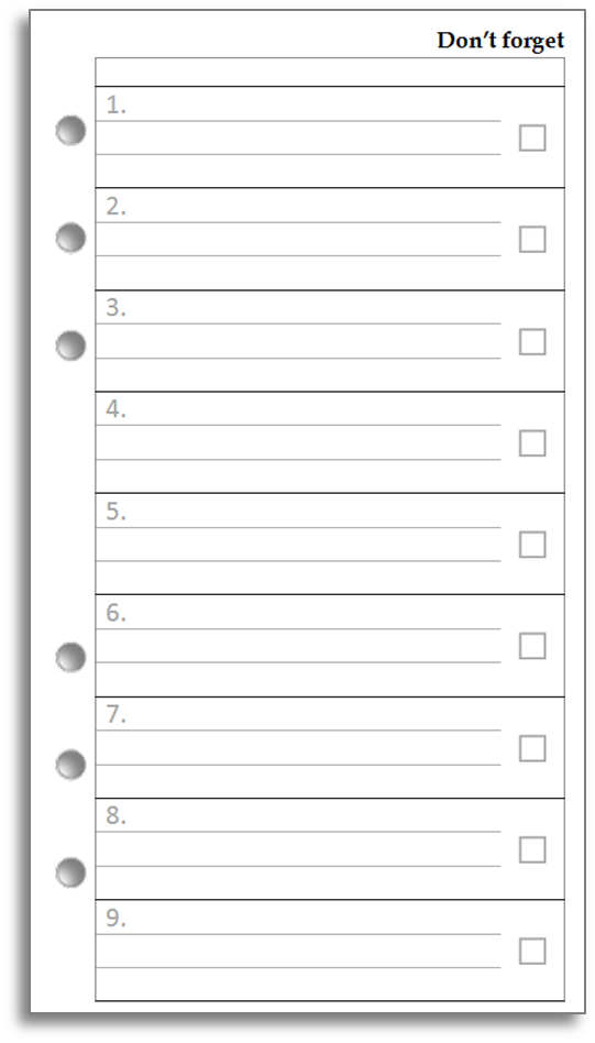 Free Printable Filofax Personal Pages