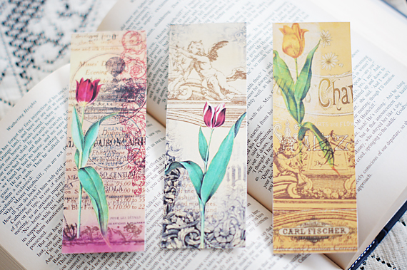5 Images of Vintage Floral Printable Bookmarks
