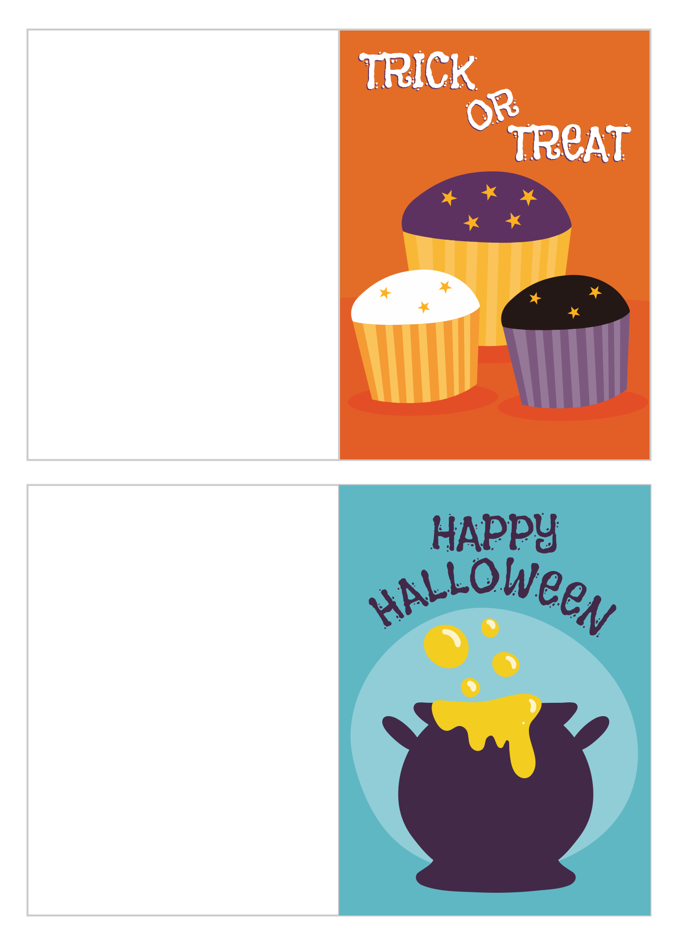 4 Images of Happy Halloween Greeting Cards Printable