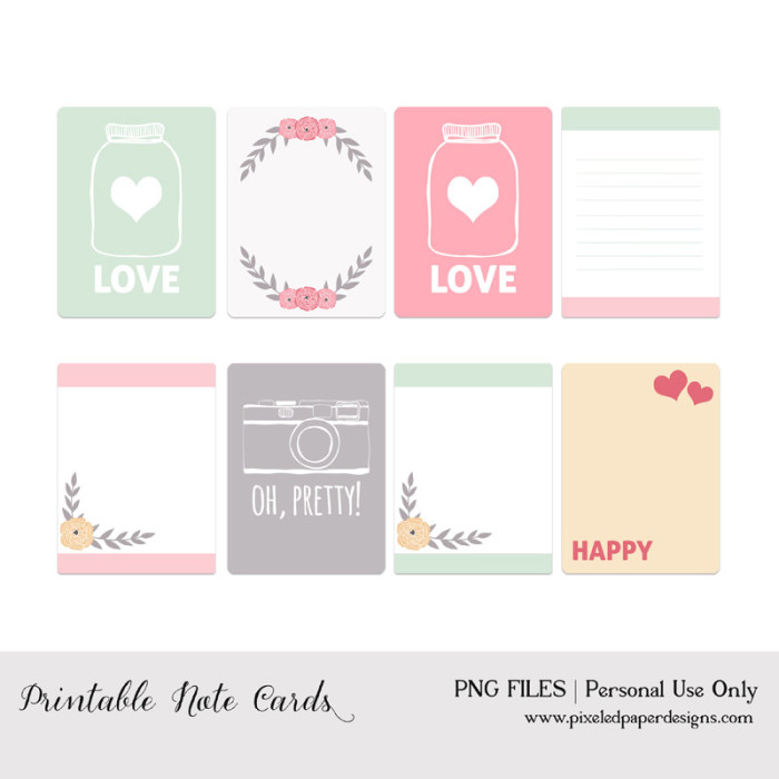 6 Images of Project Life Printable Cards
