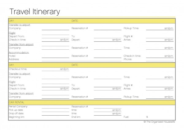 7 Images of Travel Planning Free Printable Forms