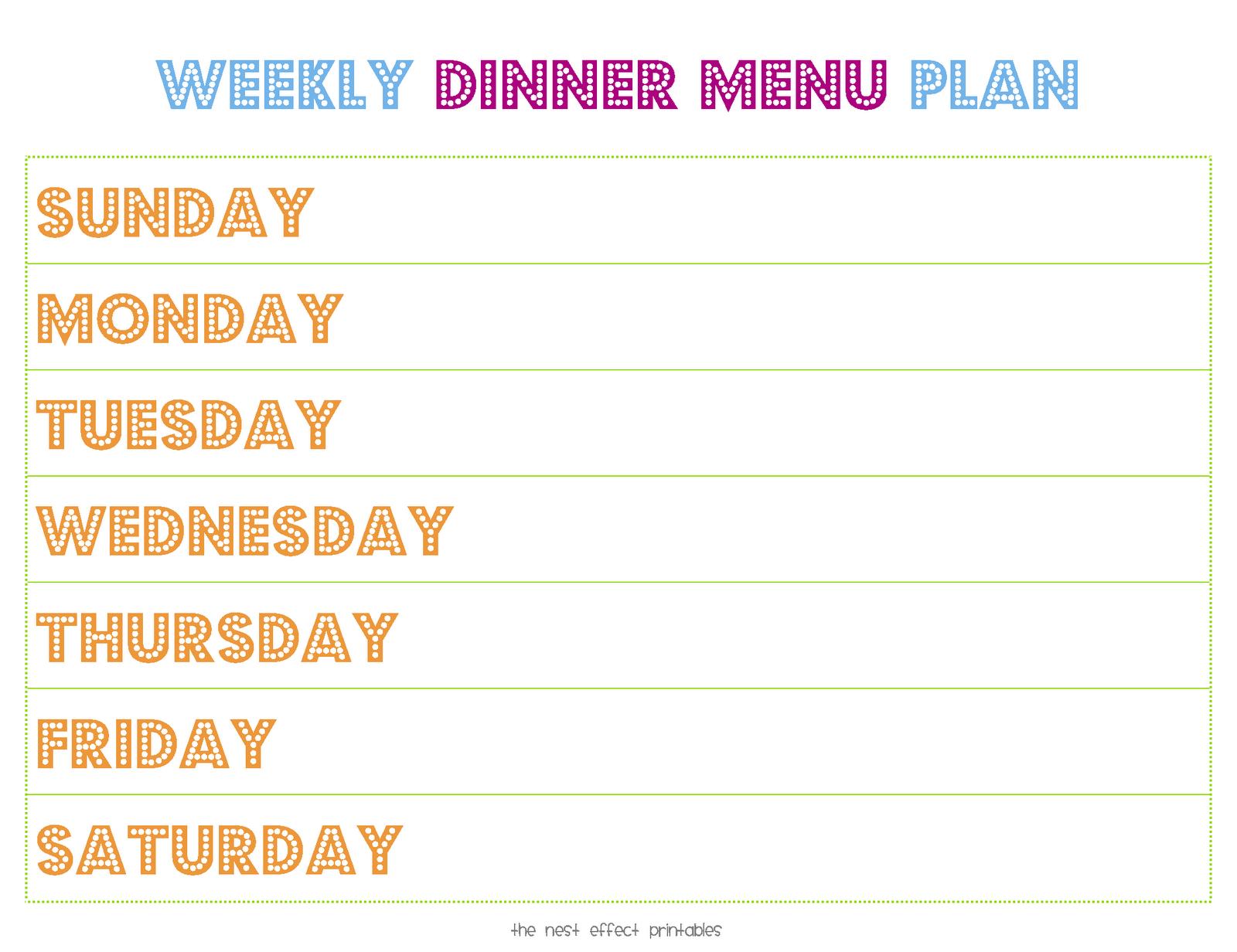 8 Images of Printable Weekly Dinner Menu Template