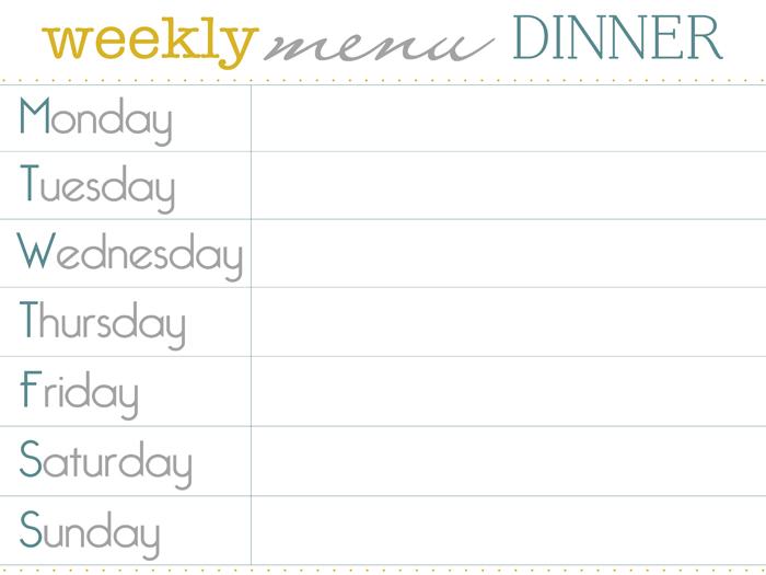Weekly Dinner Menu Template 8 best images of printable weekly dinner ...