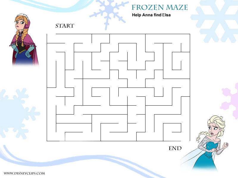 ... Printable Maze, Frozen Printable Maze Puzzles & Frozen Snowflake Maze