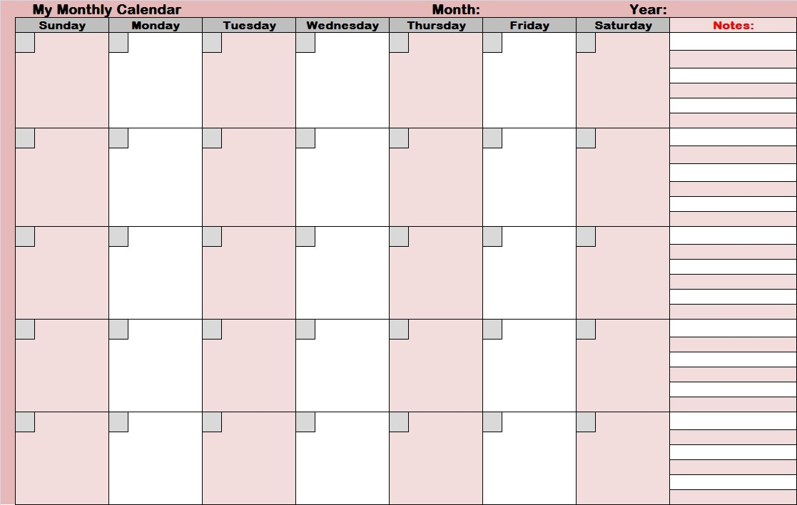 Full Size Printable Monthly Calendars