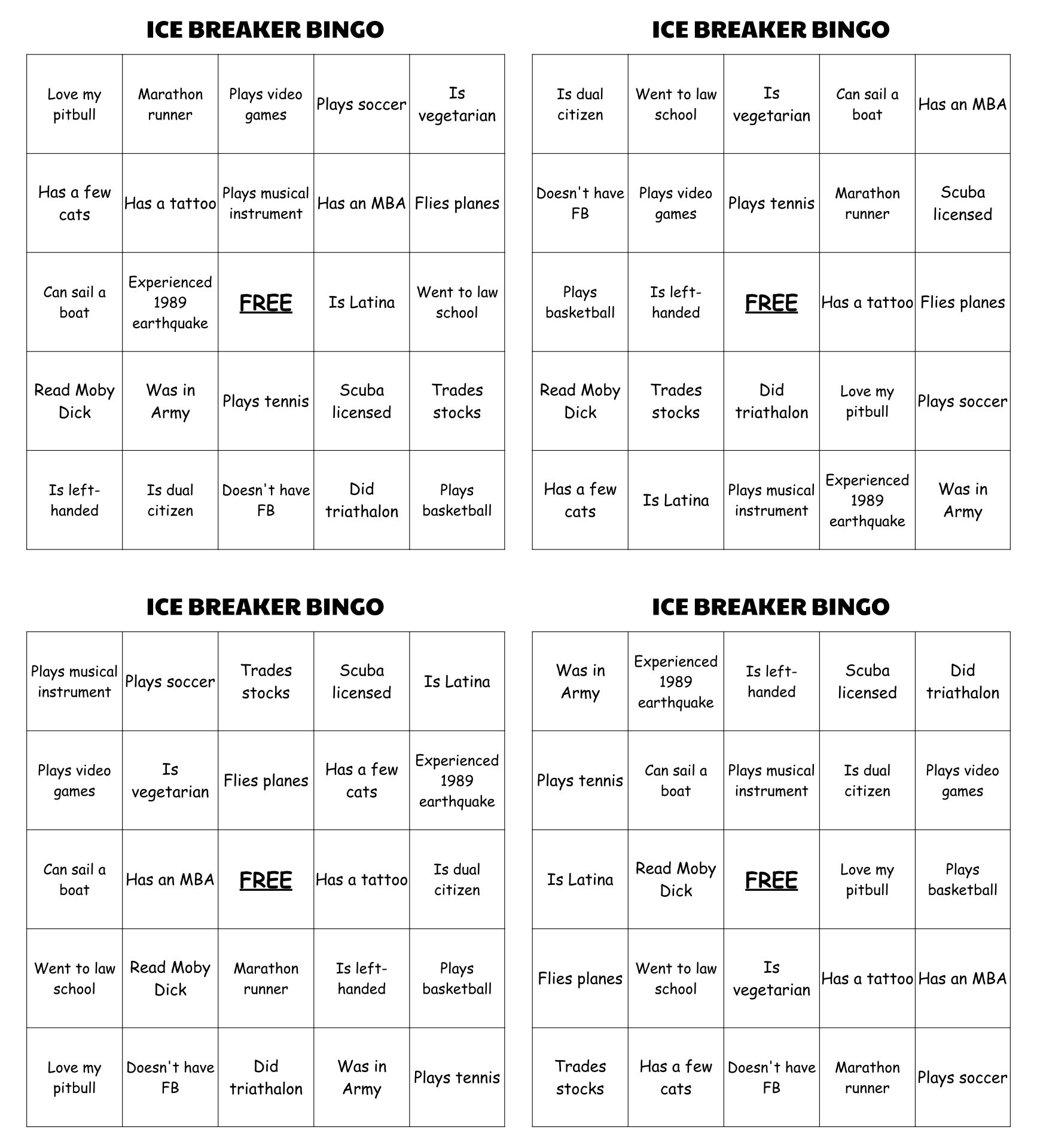 Ice Breaker Bingo Game Printable