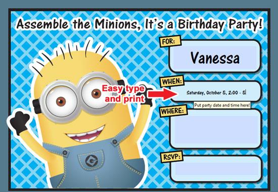 8 Images of Minion Birthday Invitations Free Printable