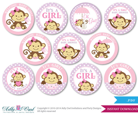 5 Images of Monkey Baby Shower Cupcake Toppers Printable