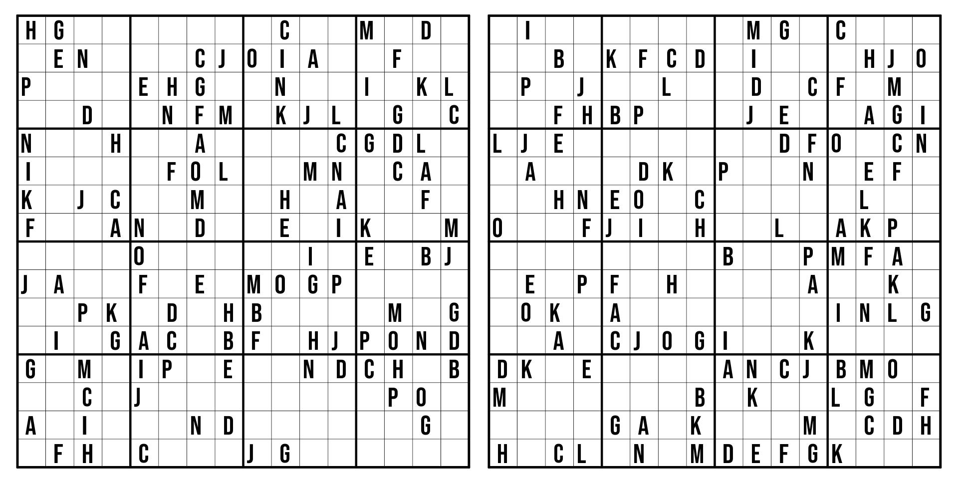 Monster Sudoku 16X16 Printable