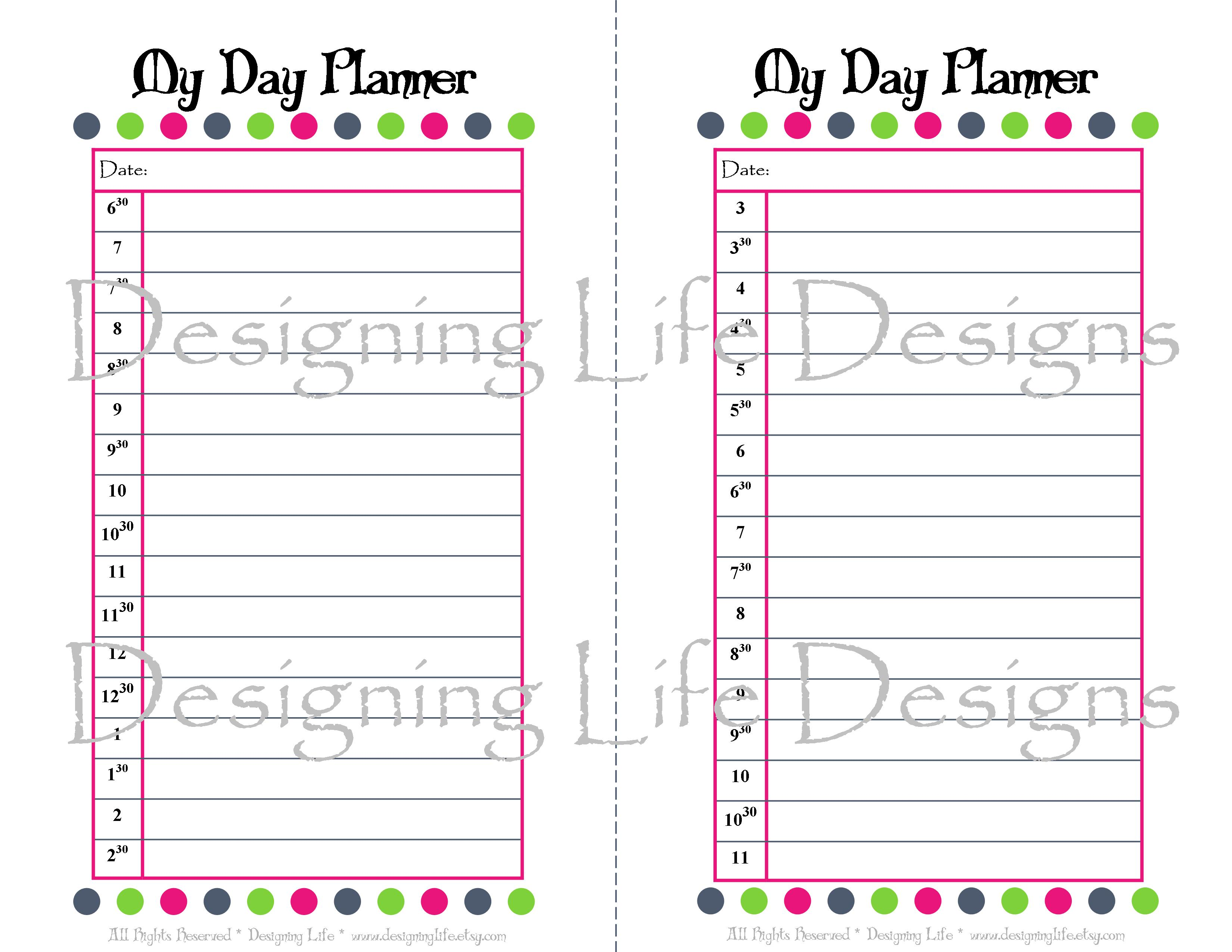 5 Images of Free Printable Half Sheet Planner Pages