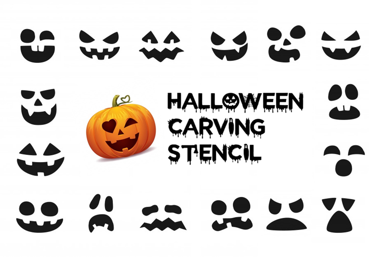 Printable halloween pumpkin stencil and pumpkin face carving pattern