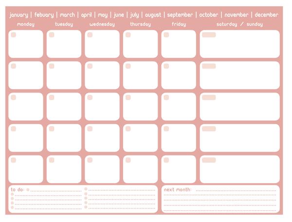 Printable Monthly Planner Calendars