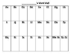 Printable Portable Word Wall