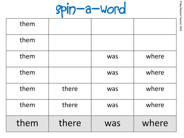5 Images of Printable Sight Word Spinners
