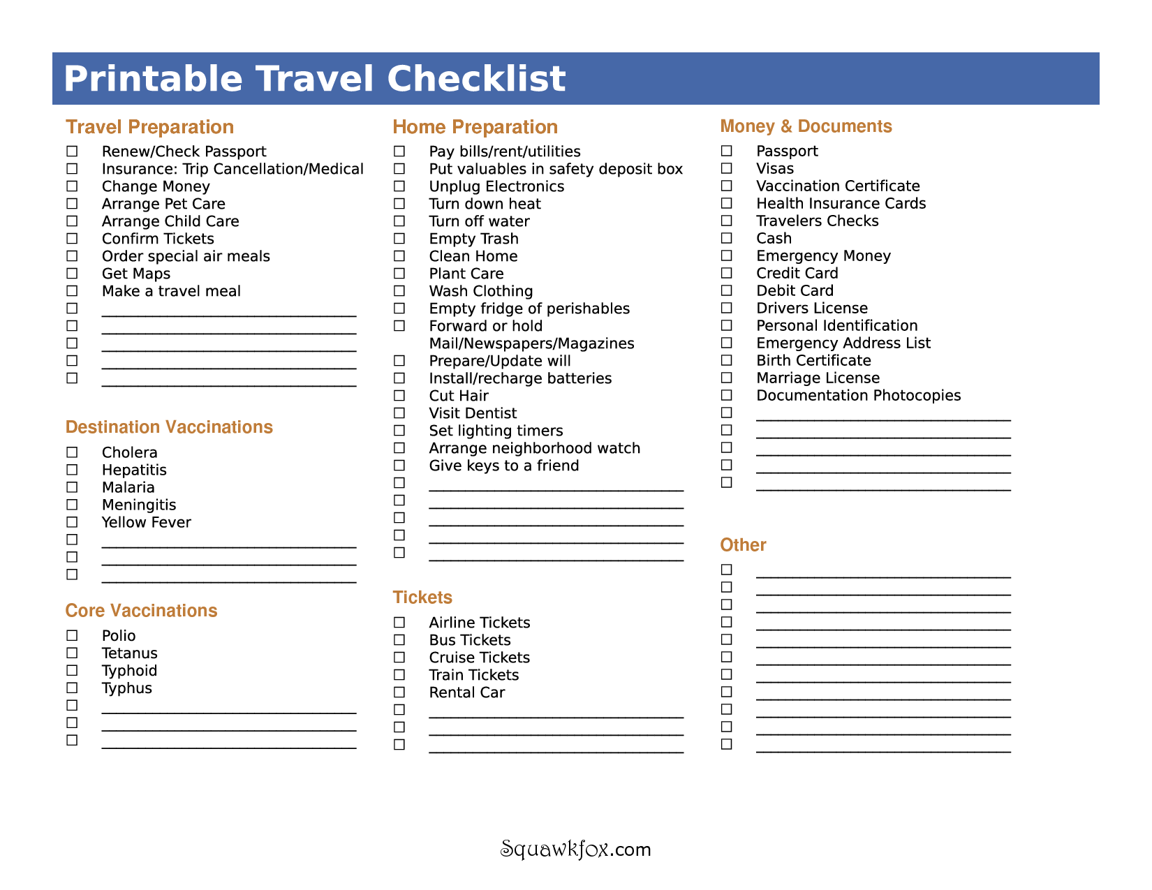 6 Best Images Of Printable Vacation Packing List Template