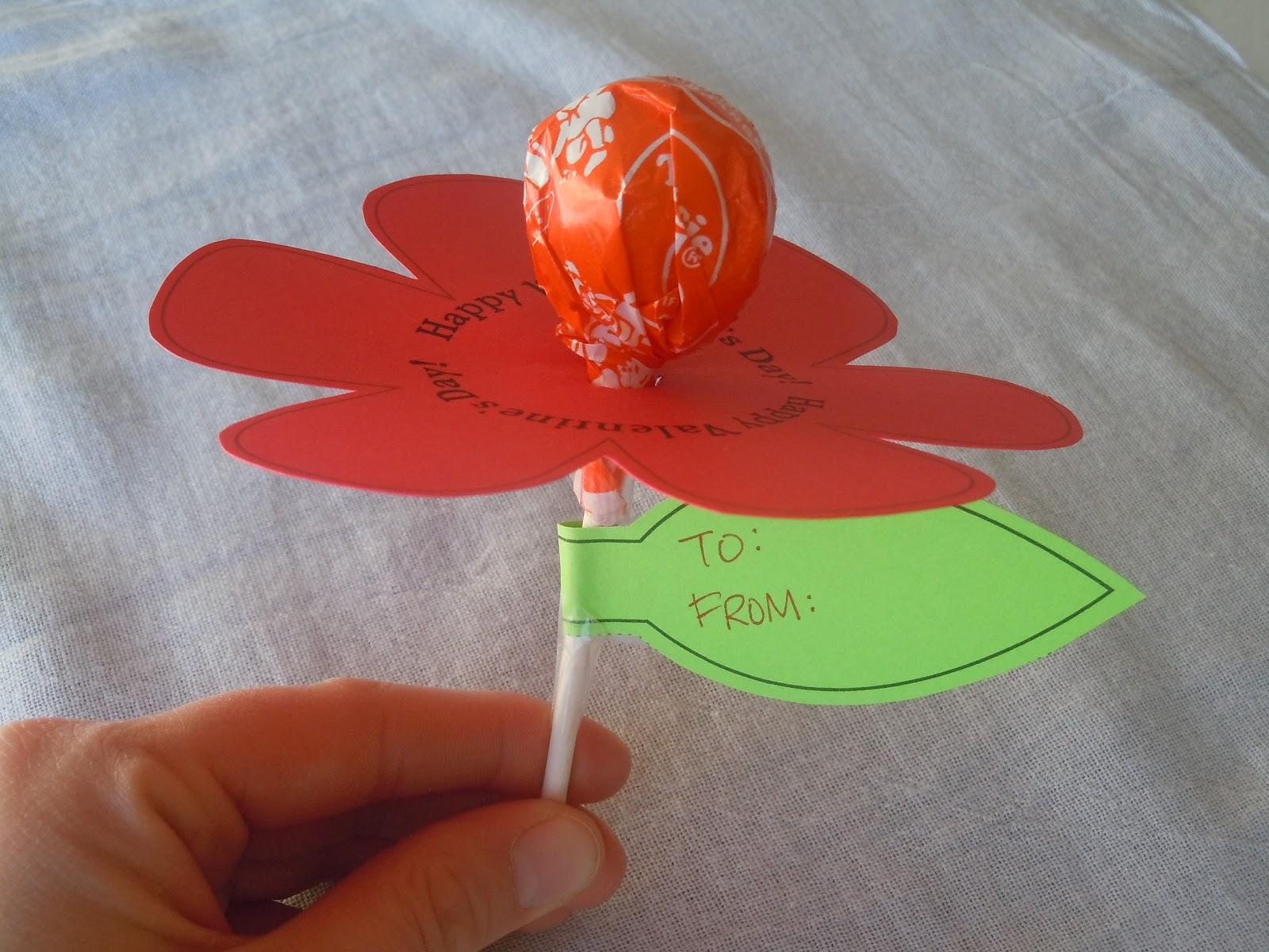 Printable Valentine Lollipop Flower